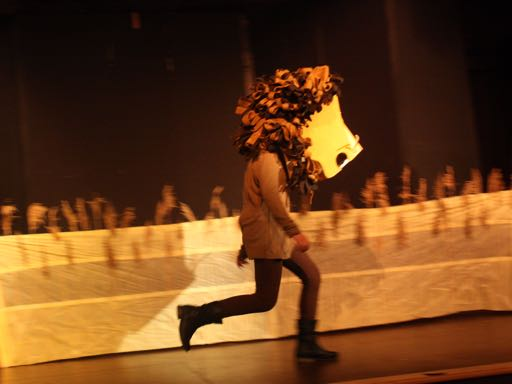 Running with the lion mask